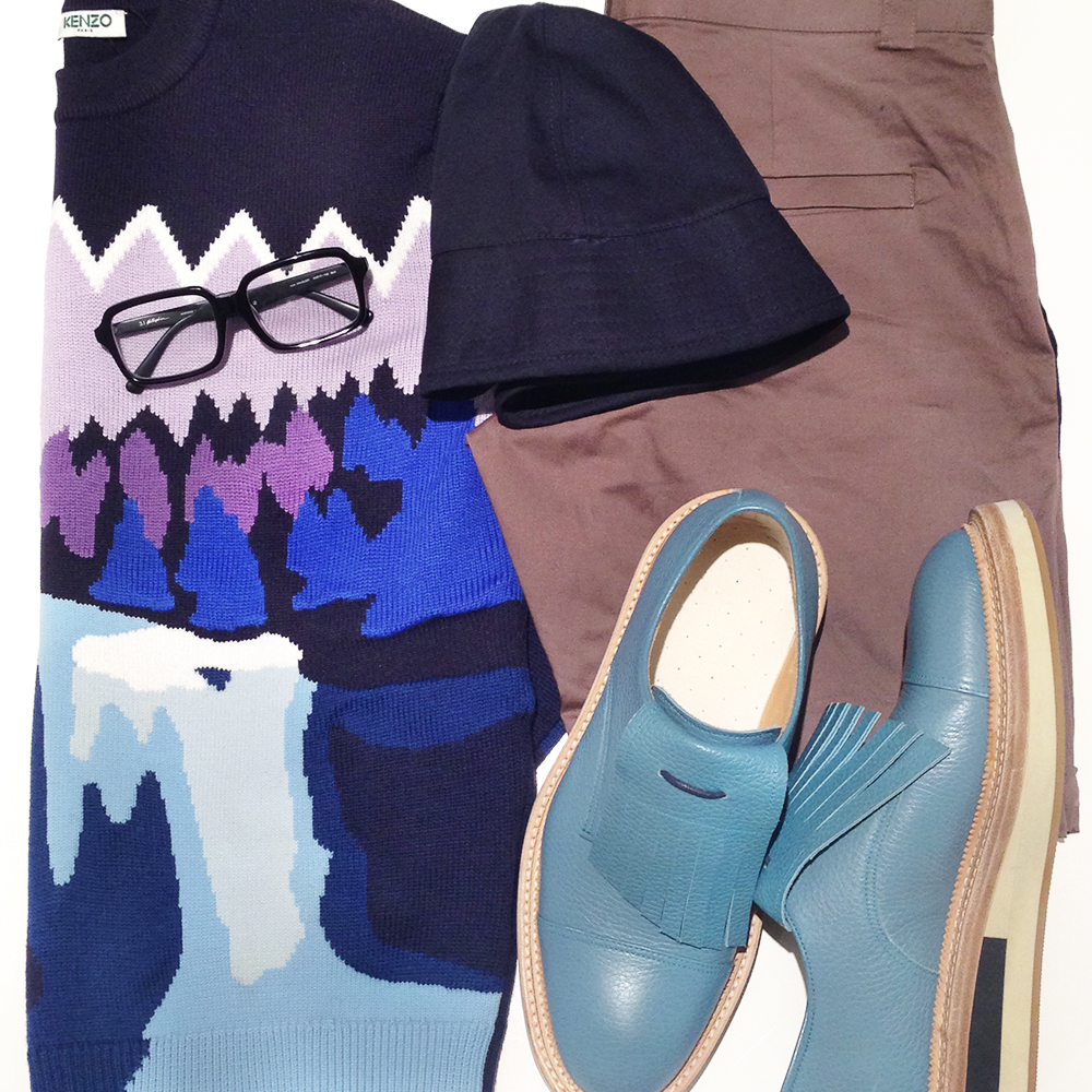 Kenzo AW14 landscape intarsia jumper, APC bucket hat, Giuliano Fujiwara mens blue shoes, 3.1 Phillip Lim glasses, Australia mens blog, Kenzo Twin Peaks River Sweater, How to wear shorts and jumper sweater,