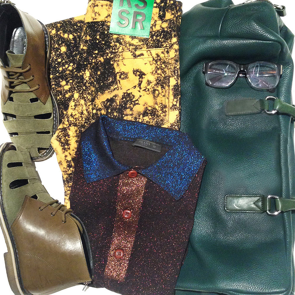 Raf Simons Sterling Ruby jeans, Prada lurex polo shirt, Marc Jacobs leather carryall bag, Neil Barrett green leather sandals, mens flat lay, Australia mens blog
