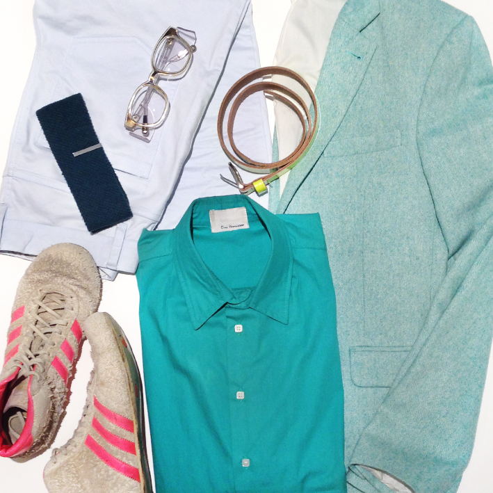 Mens mint jacket, Australia mens fashion blog, Kris Van Assche Linda Farrow glasses, mens flat lay
