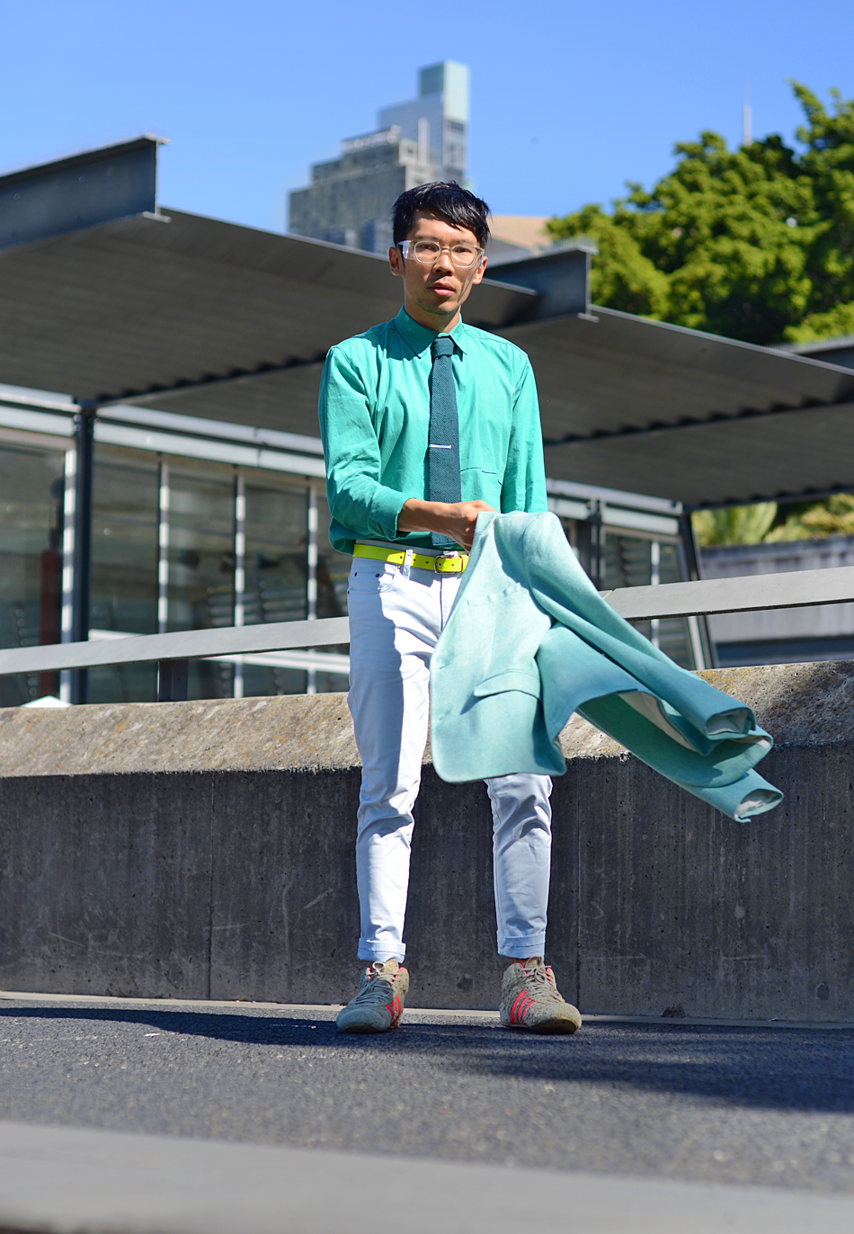 Mens mint jacket, Australia mens fashion blog, Kris Van Assche Linda Farrow glasses,
