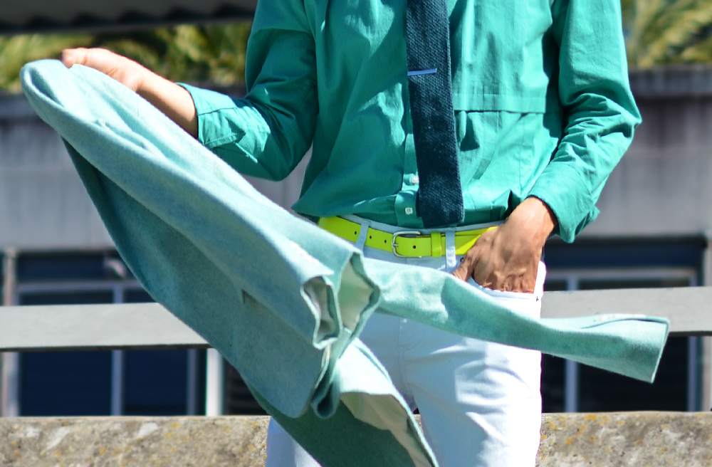 Mens mint jacket, Australia mens fashion blog, mens neon green belt