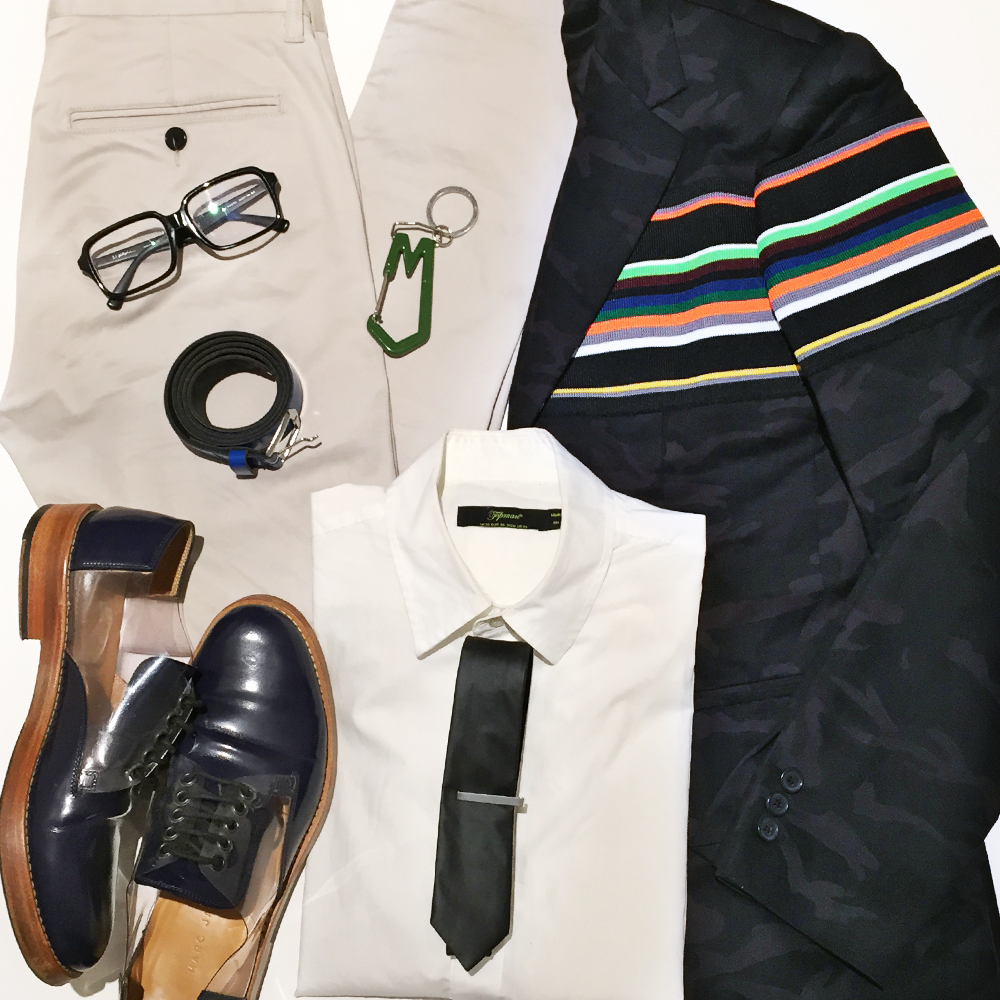 Raf Simons Sterling Ruby camo blazer jacket, Marc Jacobs keyring, 3.1 Phillip Lim glasses, Australia mens blogger