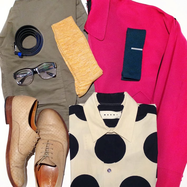 Lanvin mens raspberry pink jacket, Marni mens polka dot shirt, neon blue belt, Linda Farrow glasses, Australia mens blog, Uniqlo socks, mens flat lay