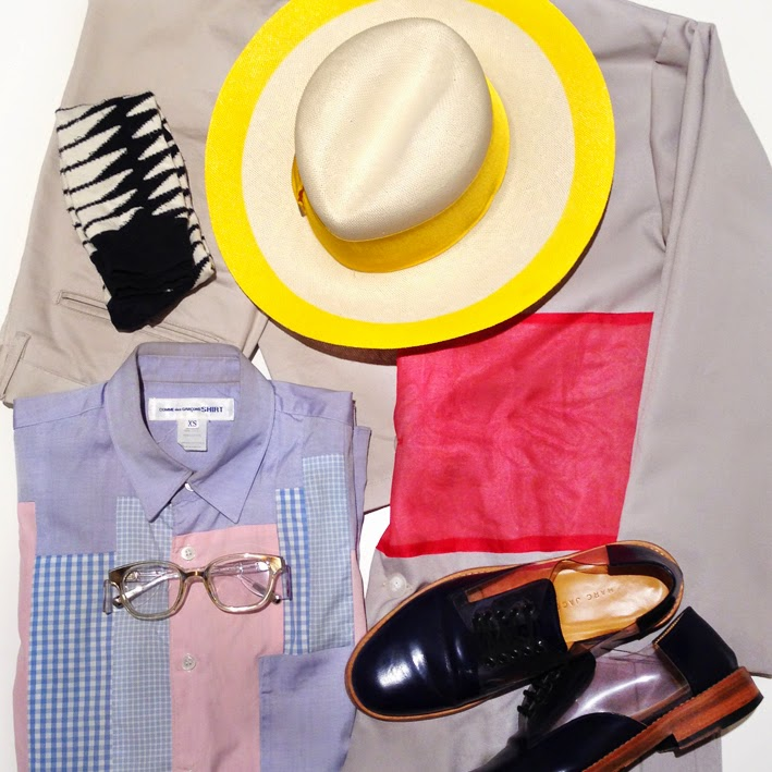 Acne mens Aldo yellow hat, mens jacket coat, Kris Van Assche Linda Farrow glasses, Australia mens blog, mens flat lay