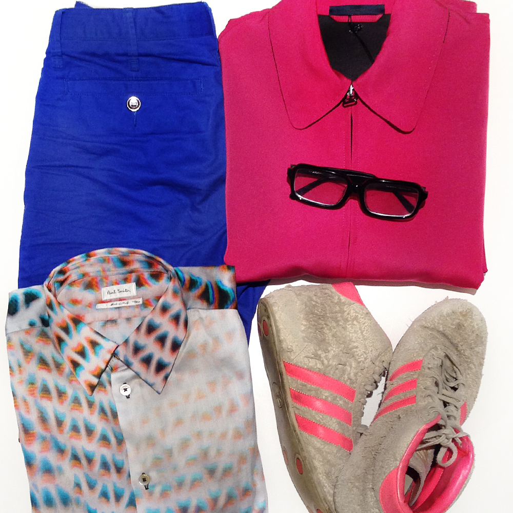 mens flat lay, Lanvin mens pink jacket, Paul Smith mens mesh print shirt, Brent Wilson mens blue shorts