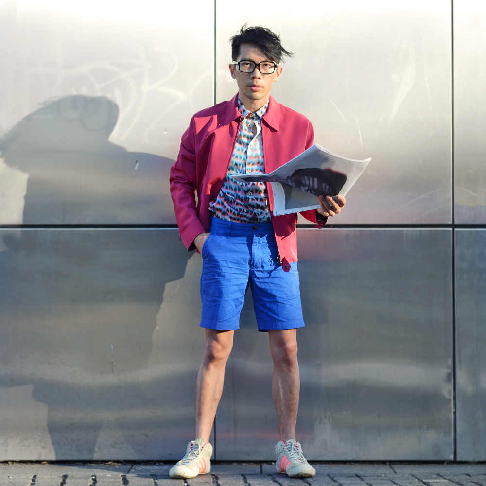 Australia mens magazine, Lanvin mens pink jacket, Paul Smith mens mesh print shirt, Brent Wilson mens blue shorts