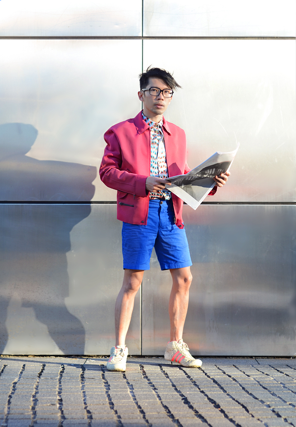 Australia mens blog, Lanvin mens pink jacket, Paul Smith mens mesh print shirt, Brent Wilson mens blue shorts