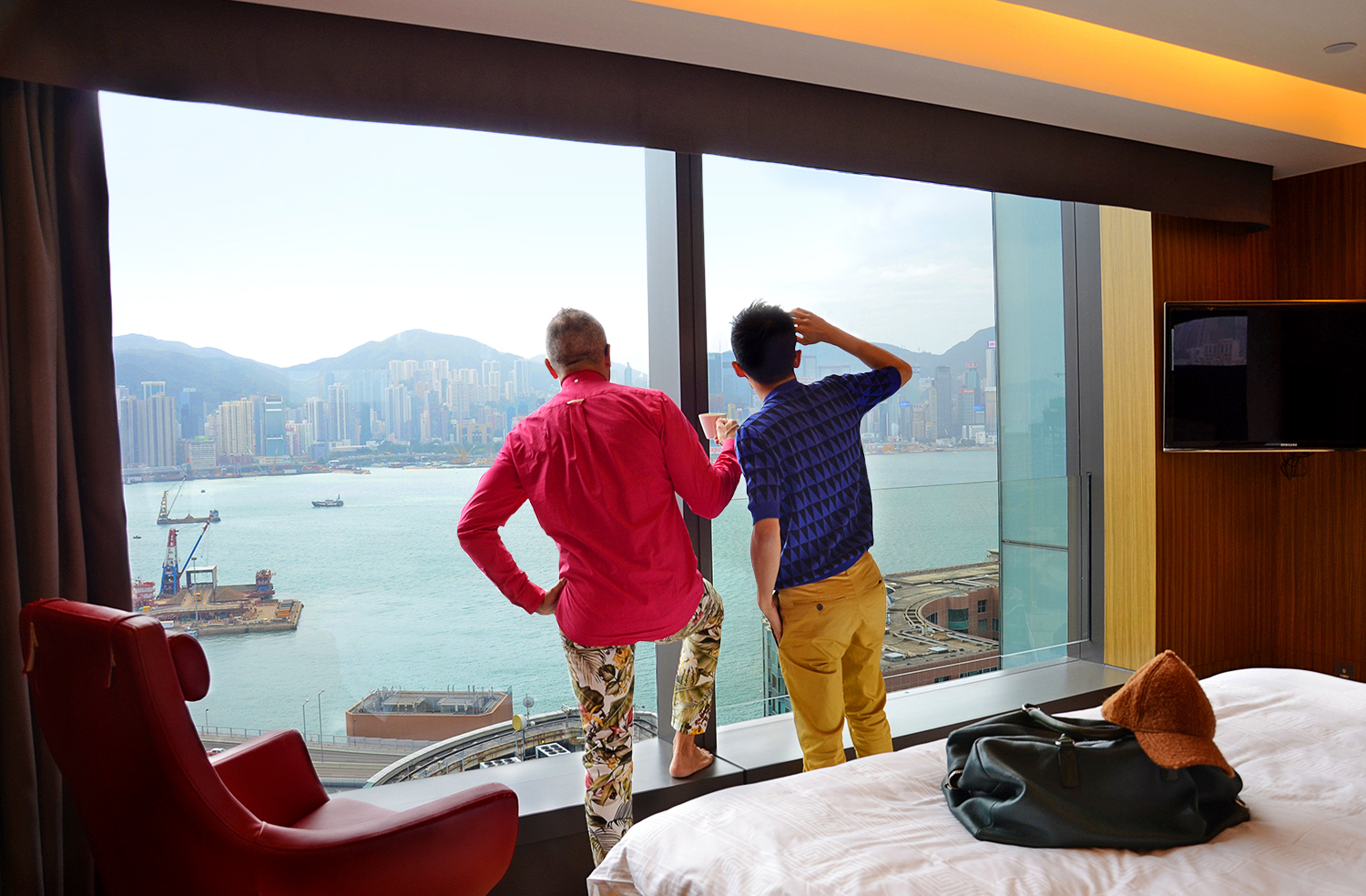 Hotel Icon Hong Kong, Club 38 Harbour room, Australia travel blog, Raf Simons knit jumper, AMI floral jeans, Where to stay in Hong Kong