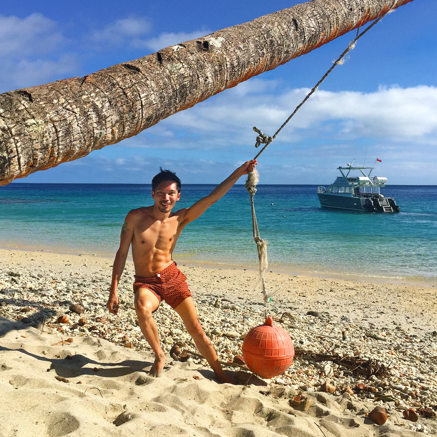 Yanuka Islands, Fiji, Australian travel blog, Mocha Salt seafern orange swim shorts