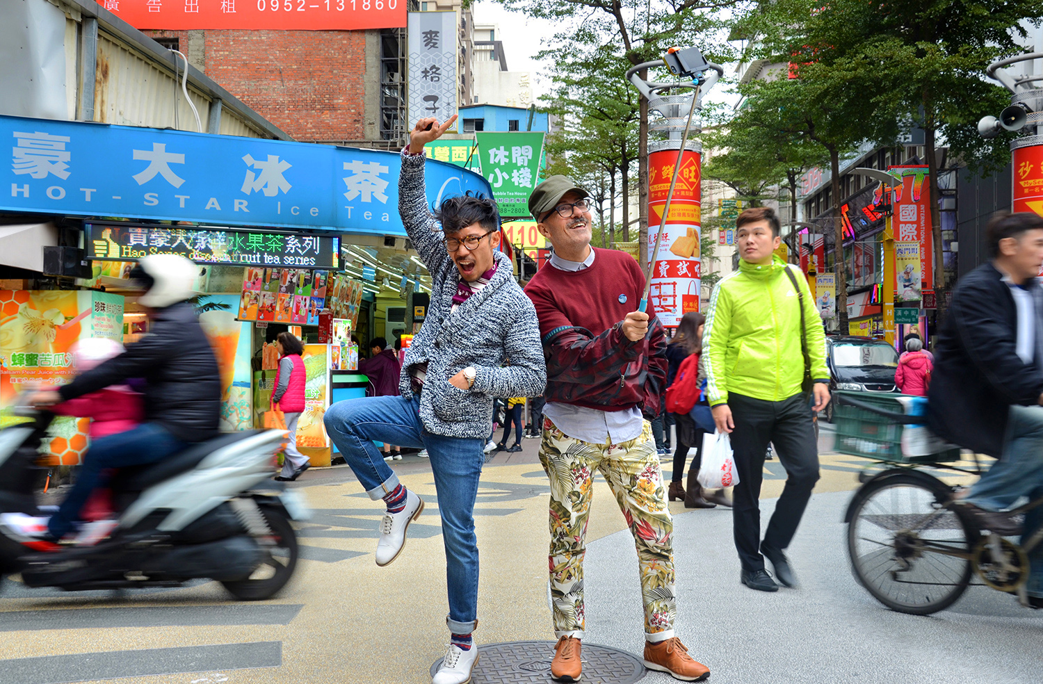 Things to do in Taipei, Ximending, Grana denim jeans, AMI floral denim jeans, Paul Smith check maroon wind jacket, gay couple Asia travel holiday