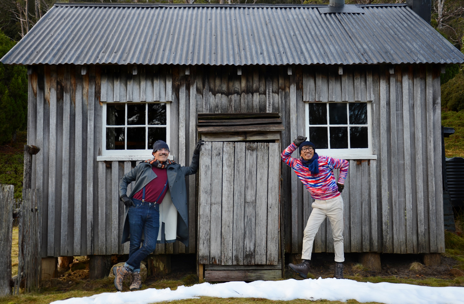 Cradle Mountain hut, Raf Simons Sterling Ruby jumper, Stutterheim charcoal trenchcoat, Australia mens blog