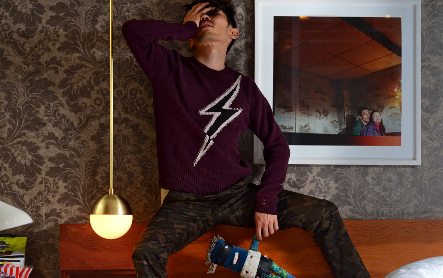 Marc Jacobs flash sweater, The Drake Hotel Toronto, Ovadia & Sons camo pants,