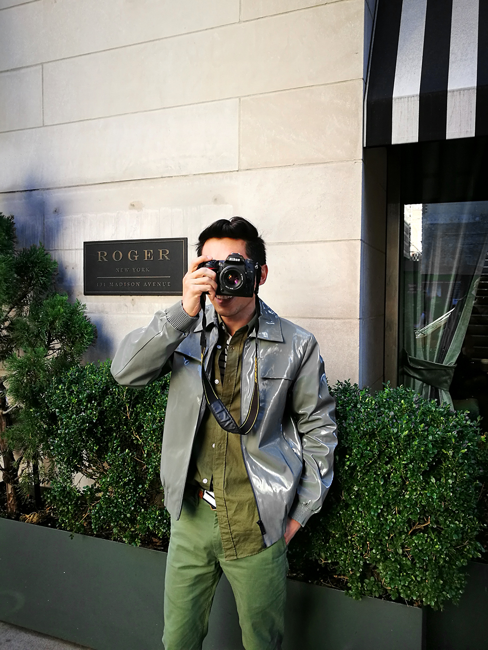 The Roger boutique hotel exterior, New York Hotel, COS mens bomber jacket, Grana mens green shirt, mens green chinos