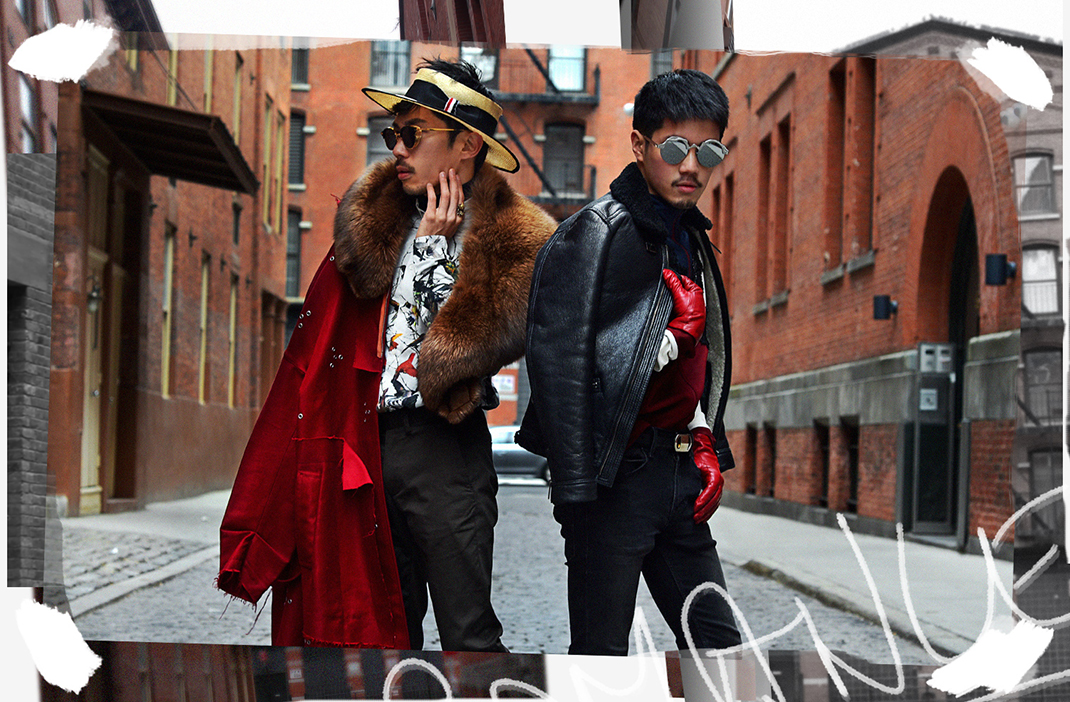 Thom Browne womens hat, Raf Simons eyelet gromet red coat, Gentle Monster Erok sunglasses, mens red gloves, Matt Chu Picchu