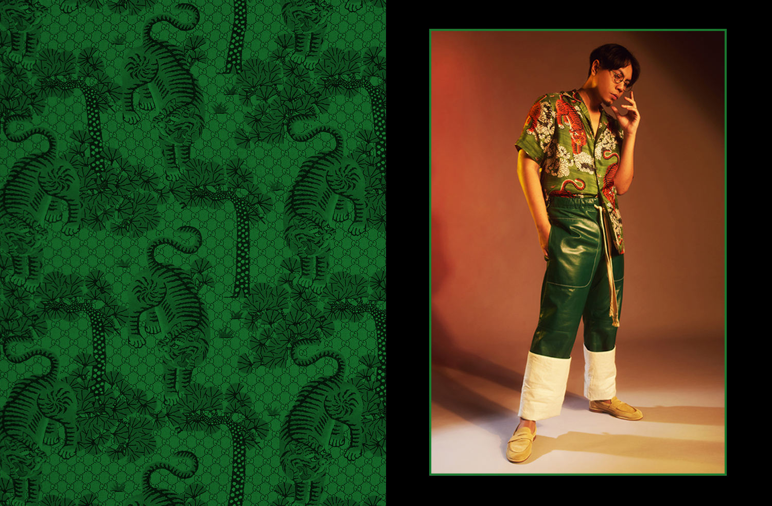 Mean, By Any Means, Loewe mens leather pants, Gucci Mens Bengal Tiger silk shirt, The Dapper Rapper
