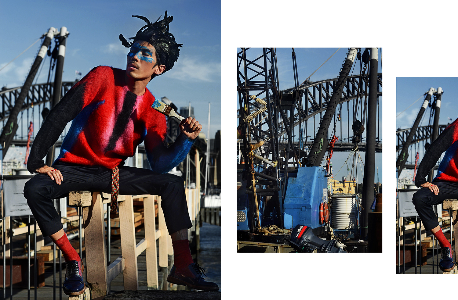 Louis Vuitton mens red SS17 mohair sweater, Marc Jacobs mens clear oxford shoes, mens red socks, Sydney Harbour Bridge, Dior Homme SS17 red rings, blue face paint