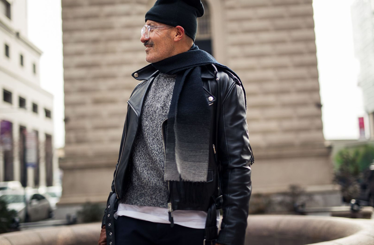 Jean Paul Gaultier mens leather jacket, British GQ New York Fashion Week AW17 Street Style