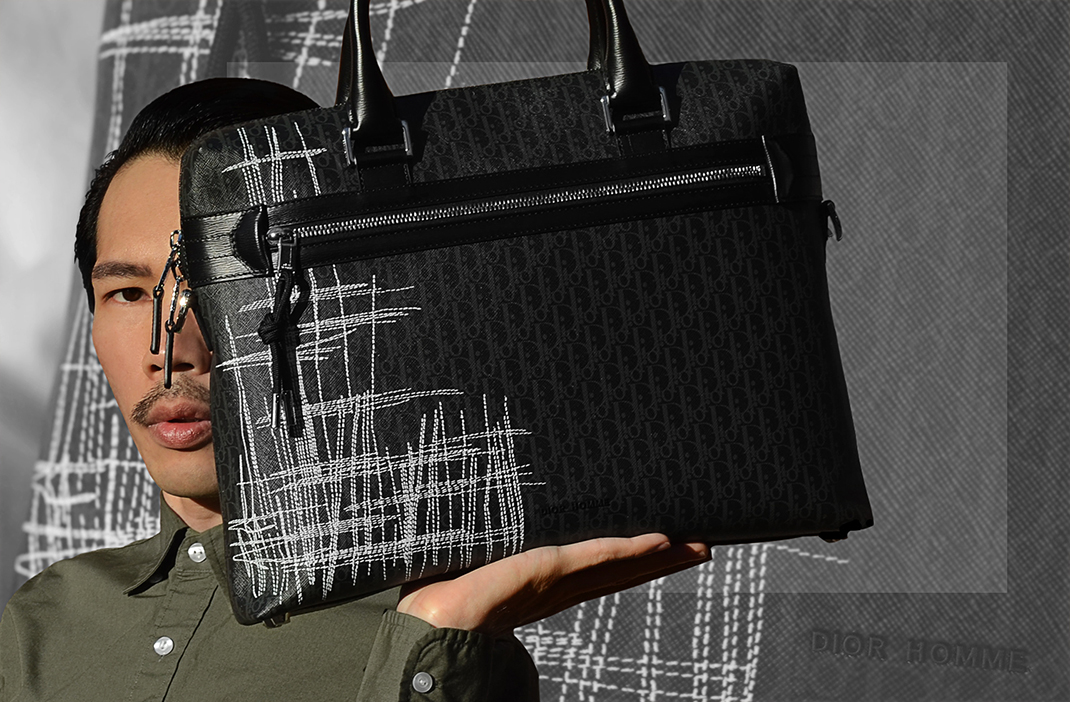 Dior Homme Autumn Winter Scribble Briefcase