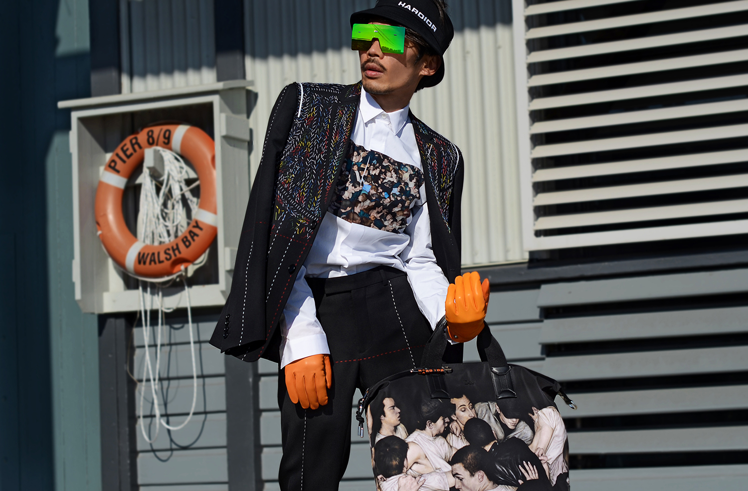 Dior Homme Autumn Winter 2017, Mosh Pit Print Dan Witz, mens orange gloves, mens futuristic sunglasses, Hardior bucket hat