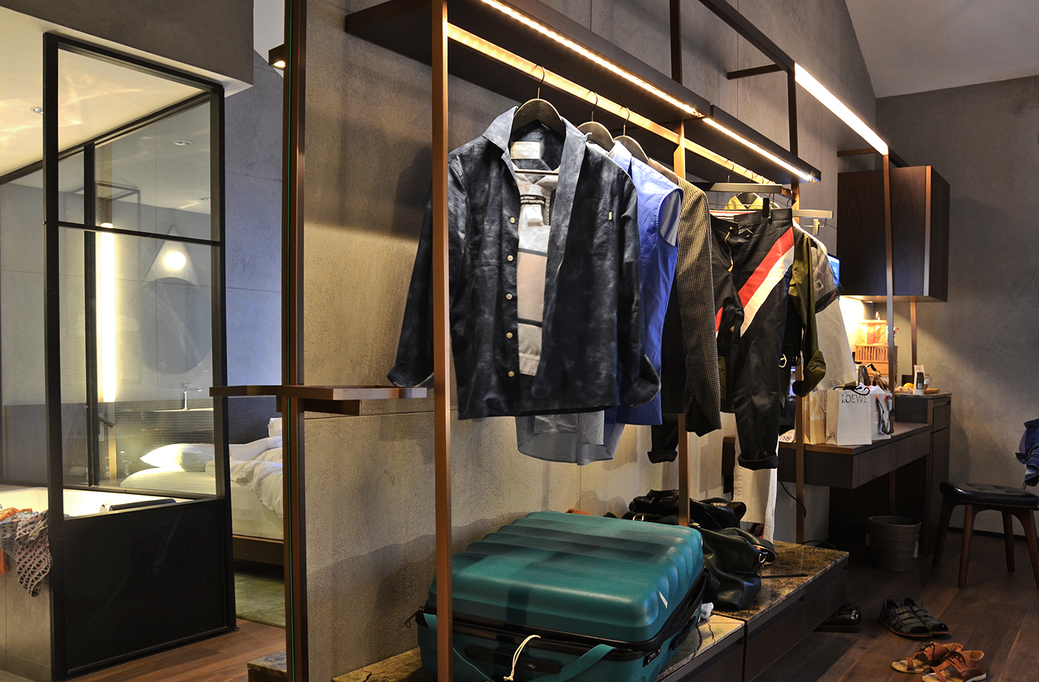 Warehouse Hotel, where to stay in singapore, industrial design, open wardrobe