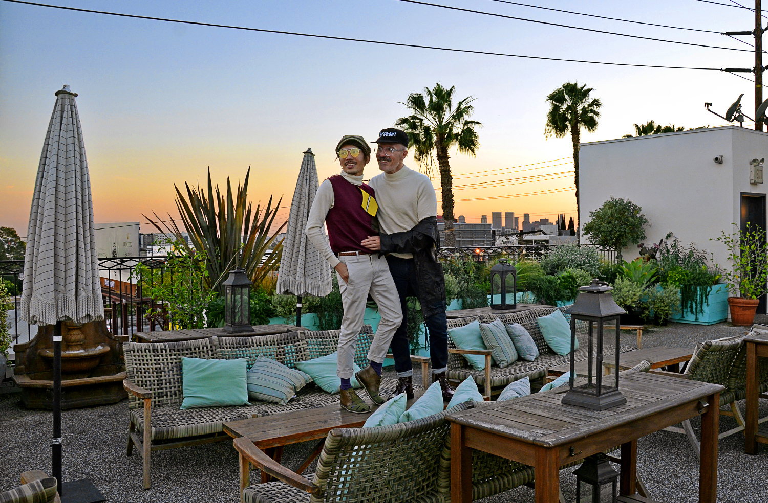 Palihouse West Hollywood rooftop, LA sunset, gay couple