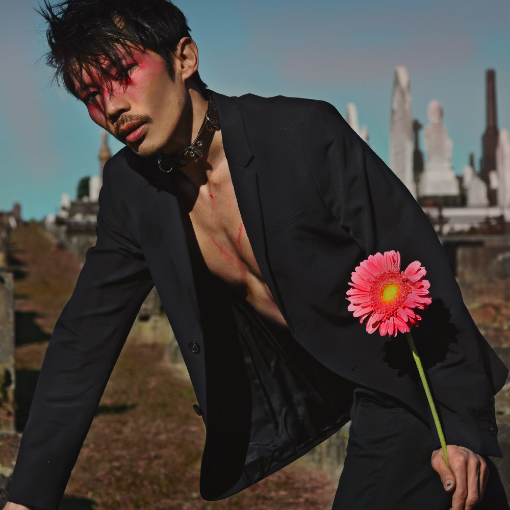 guy in makeup, cemetary fashion shoot