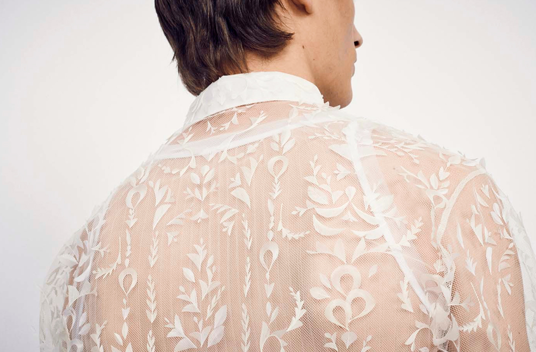 Dior Homme feather sheer shirt, Dior SS19
