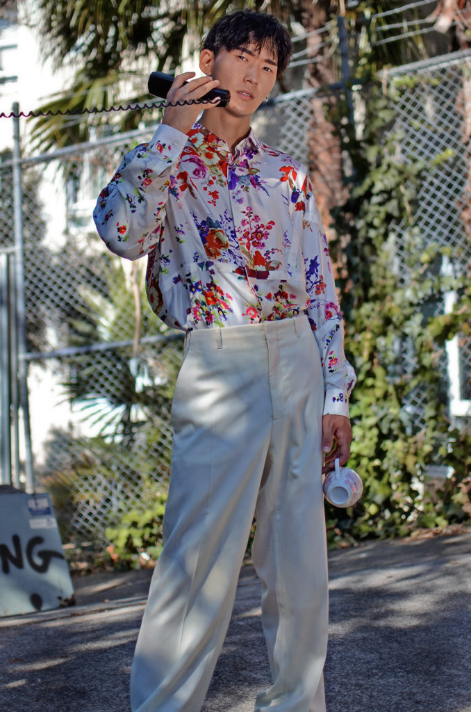 Dior mens floral SS19 shirt, Dior Homme editorial, Kim Jones Dior
